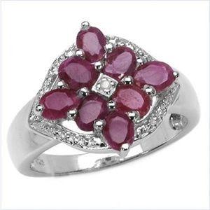 Solid Strlg Silver Diamond Setting 2 ct Ruby Ring